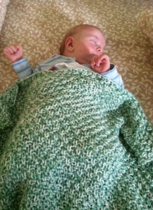 "Baby E with his ""4-H Mom"" blanket"